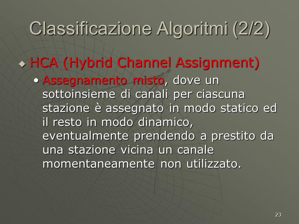 23 Classificazione Algoritmi (2/2) HCA (Hybrid Channel Assignment) HCA (Hybrid Channel Assignment) Assegnamento misto, dove un sottoinsieme di canali per ciascuna stazione è assegnato in modo statico ed il resto in modo dinamico, eventualmente prendendo a prestito da una stazione vicina un canale momentaneamente non utilizzato.Assegnamento misto, dove un sottoinsieme di canali per ciascuna stazione è assegnato in modo statico ed il resto in modo dinamico, eventualmente prendendo a prestito da una stazione vicina un canale momentaneamente non utilizzato.
