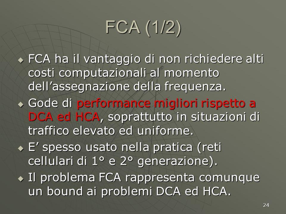 24 FCA (1/2) FCA ha il vantaggio di non richiedere alti costi computazionali al momento dellassegnazione della frequenza.