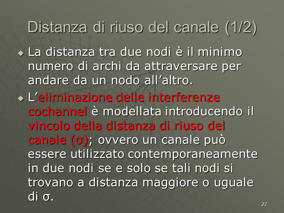 27 Distanza di riuso del canale (1/2) La distanza tra due nodi è il minimo numero di archi da attraversare per andare da un nodo allaltro.