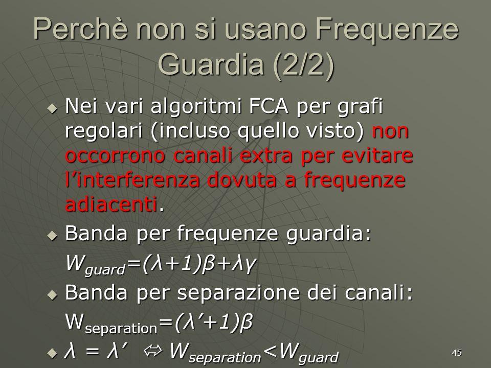 45 Perchè non si usano Frequenze Guardia (2/2) Nei vari algoritmi FCA per grafi regolari (incluso quello visto) non occorrono canali extra per evitare linterferenza dovuta a frequenze adiacenti.