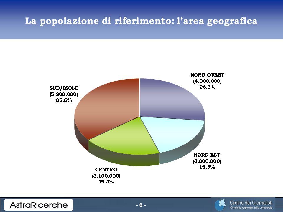 - 6 - La popolazione di riferimento: larea geografica