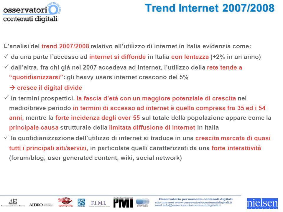 Trend Internet 2007/2008 Lanalisi del trend 2007/2008 relativo allutilizzo di internet in Italia evidenzia come: da una parte laccesso ad internet si diffonde in Italia con lentezza (+2% in un anno) dallaltra, fra chi già nel 2007 accedeva ad internet, lutilizzo della rete tende a quotidianizzarsi: gli heavy users internet crescono del 5% cresce il digital divide in termini prospettici, la fascia detà con un maggiore potenziale di crescita nel medio/breve periodo in termini di accesso ad internet è quella compresa fra 35 ed i 54 anni, mentre la forte incidenza degli over 55 sul totale della popolazione appare come la principale causa strutturale della limitata diffusione di internet in Italia la quotidianizzazione dellutilizzo di internet si traduce in una crescita marcata di quasi tutti i principali siti/servizi, in particolate quelli caratterizzati da una forte interattività (forum/blog, user generated content, wiki, social network)