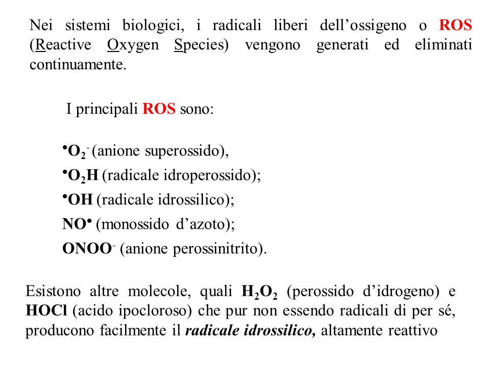 ANTIOSSIDANTI ENDOGENI Enzimi : SOD, catalasi, glutatione perossidasi Proteine : proteine-SH, leganti metalli (Fe, Cu) Altre molecole : acido urico, bilirubina...