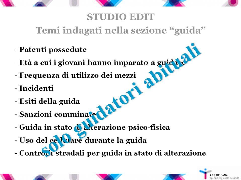 EDIT Percentuali di incidentalità nelle ASL Toscane (solo guidatori abituali) + Viareggio, Firenze, Prato, Empoli - Siena, Arezzo