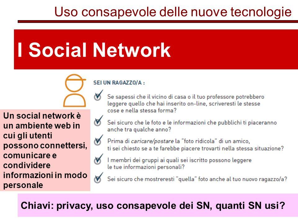 Uso consapevole delle nuove tecnologie I Social Network Chiavi: privacy, uso consapevole dei SN, quanti SN usi.