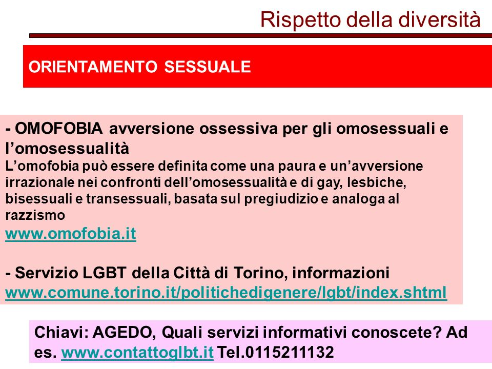 Rispetto della diversità ORIENTAMENTO SESSUALE - OMOFOBIA avversione ossessiva per gli omosessuali e lomosessualità Lomofobia può essere definita come una paura e unavversione irrazionale nei confronti dellomosessualità e di gay, lesbiche, bisessuali e transessuali, basata sul pregiudizio e analoga al razzismo www.omofobia.it - Servizio LGBT della Città di Torino, informazioni www.comune.torino.it/politichedigenere/lgbt/index.shtml www.omofobia.it www.comune.torino.it/politichedigenere/lgbt/index.shtml Chiavi: AGEDO, Quali servizi informativi conoscete.