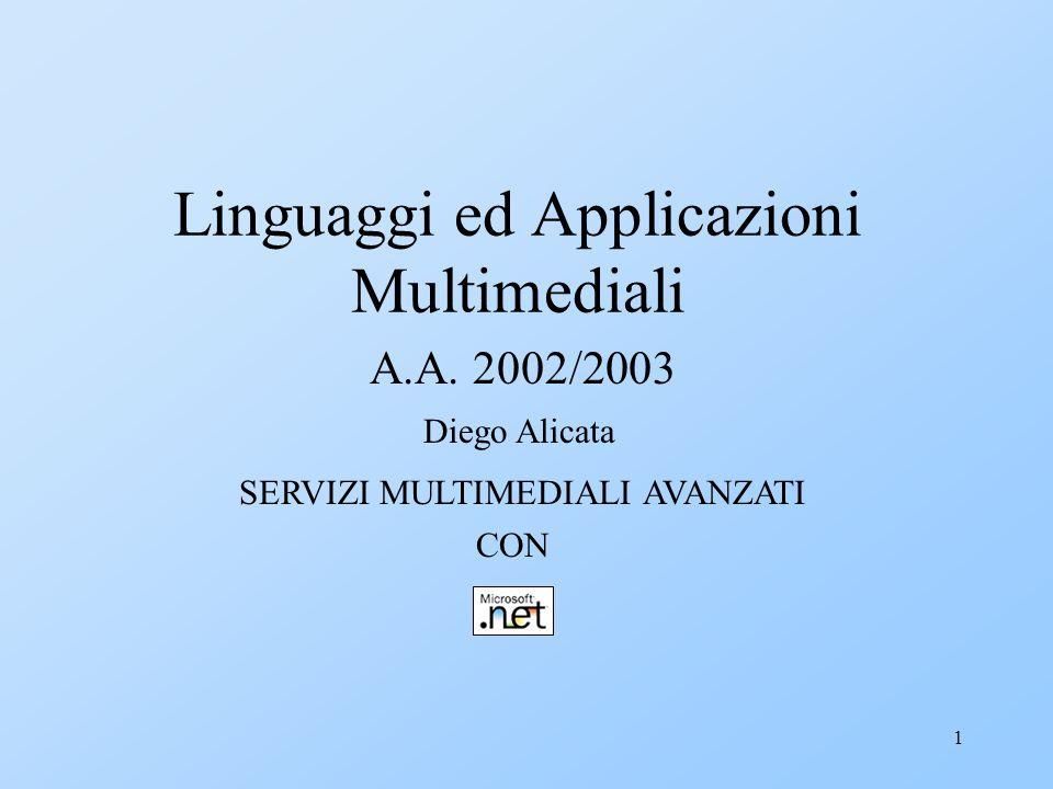 1 Linguaggi ed Applicazioni Multimediali A.A. 2002/2003 Diego Alicata SERVIZI MULTIMEDIALI AVANZATI CON