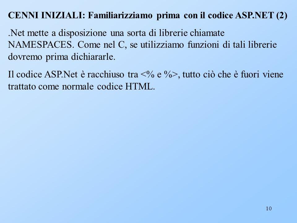 10 CENNI INIZIALI: Familiarizziamo prima con il codice ASP.NET (2).Net mette a disposizione una sorta di librerie chiamate NAMESPACES. Come nel C, se