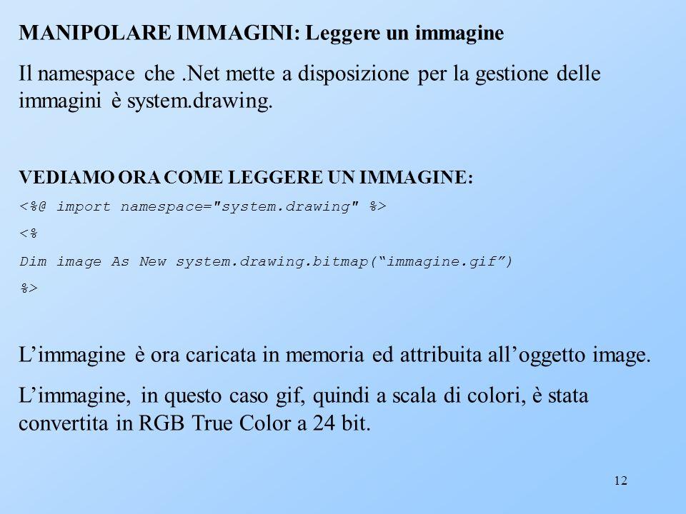 12 MANIPOLARE IMMAGINI: Leggere un immagine Il namespace che.Net mette a disposizione per la gestione delle immagini è system.drawing. VEDIAMO ORA COM