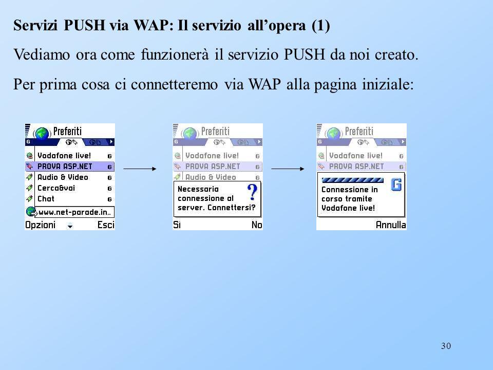 30 Servizi PUSH via WAP: Il servizio allopera (1) Vediamo ora come funzionerà il servizio PUSH da noi creato. Per prima cosa ci connetteremo via WAP a