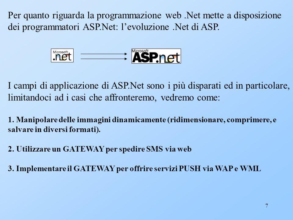 7 Per quanto riguarda la programmazione web.Net mette a disposizione dei programmatori ASP.Net: levoluzione.Net di ASP. I campi di applicazione di ASP