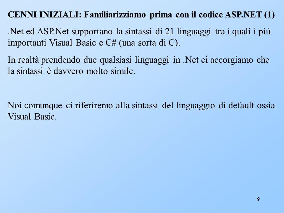 9 CENNI INIZIALI: Familiarizziamo prima con il codice ASP.NET (1).Net ed ASP.Net supportano la sintassi di 21 linguaggi tra i quali i più importanti V
