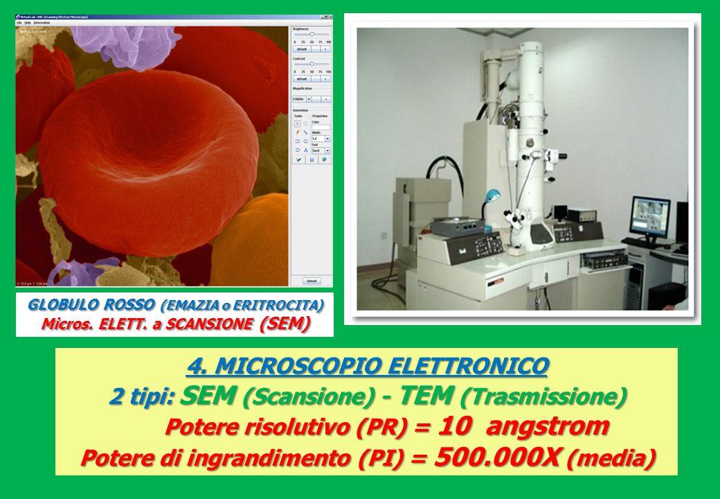 4. MICROSCOPIO ELETTRONICO 2 tipi: SEM (Scansione) - TEM (Trasmissione) Potere risolutivo (PR) = 10 angstrom Potere di ingrandimento (PI) = 500.000X (