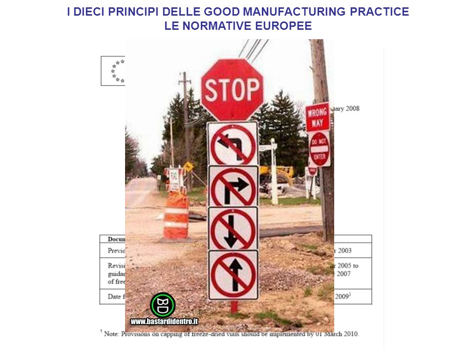 I DIECI PRINCIPI DELLE GOOD MANUFACTURING PRACTICE LE NORMATIVE EUROPEE