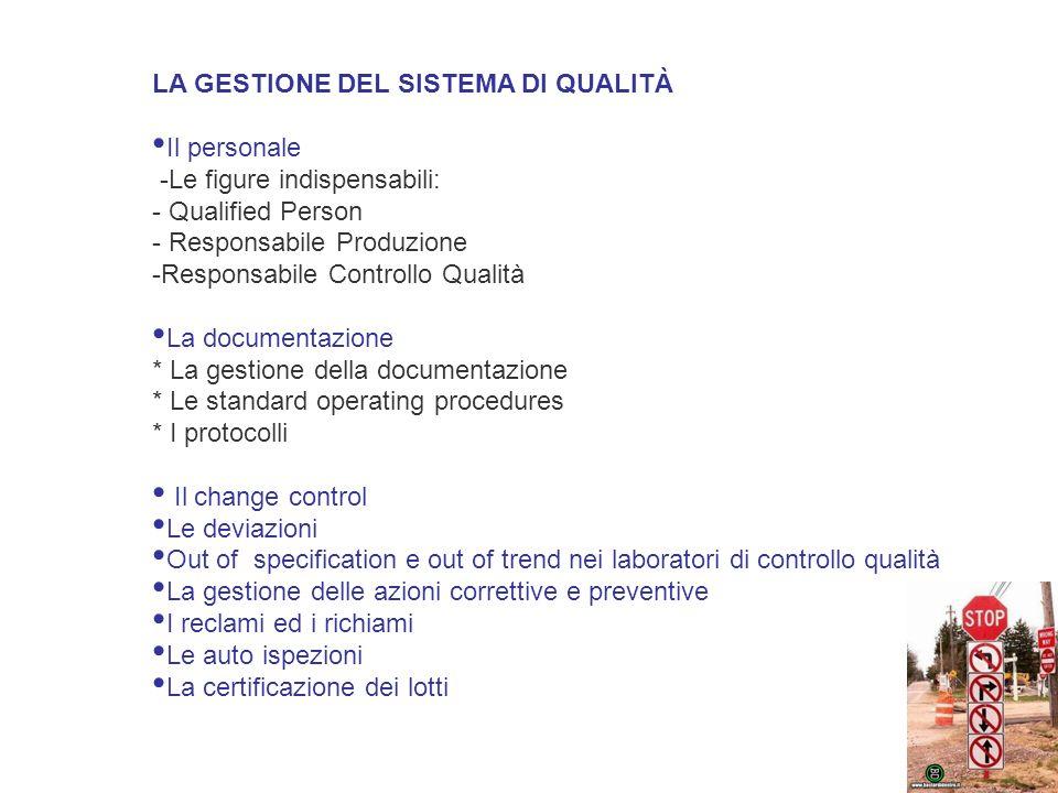 LA GESTIONE DEL SISTEMA DI QUALITÀ Il personale -Le figure indispensabili: - Qualified Person - Responsabile Produzione -Responsabile Controllo Qualit