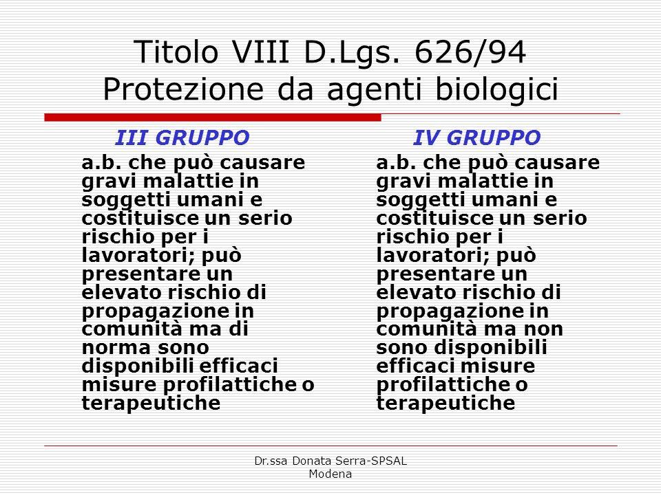 Dr.ssa Donata Serra-SPSAL Modena Titolo VIII D.Lgs. 626/94 Protezione da agenti biologici III GRUPPO a.b. che può causare gravi malattie in soggetti u