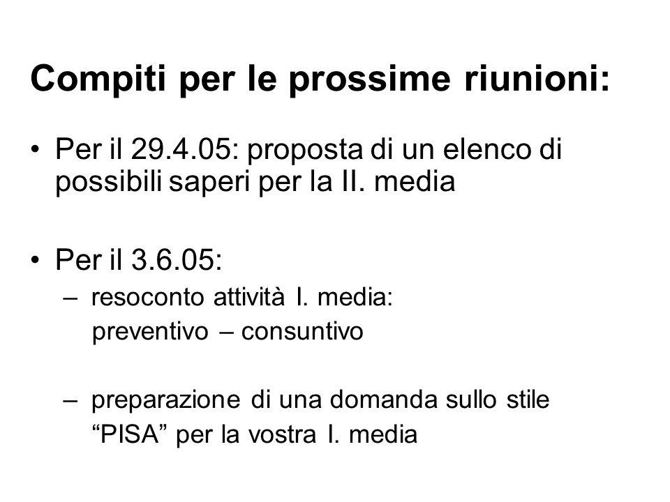 Compiti per le prossime riunioni: Per il 29.4.05: proposta di un elenco di possibili saperi per la II.