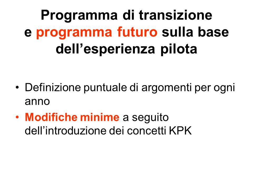 Programma di transizione e programma futuro sulla base dellesperienza pilota Definizione puntuale di argomenti per ogni anno Modifiche minime a seguito dellintroduzione dei concetti KPK