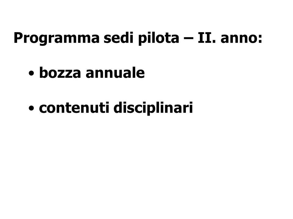 Programma sedi pilota – II. anno: bozza annuale contenuti disciplinari
