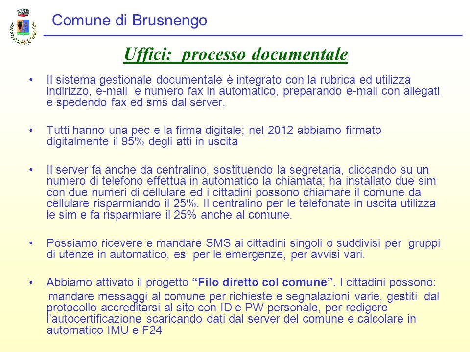 Comune di Brusnengo Uffici: processo documentale Il sistema gestionale documentale è integrato con la rubrica ed utilizza indirizzo, e-mail e numero fax in automatico, preparando e-mail con allegati e spedendo fax ed sms dal server.