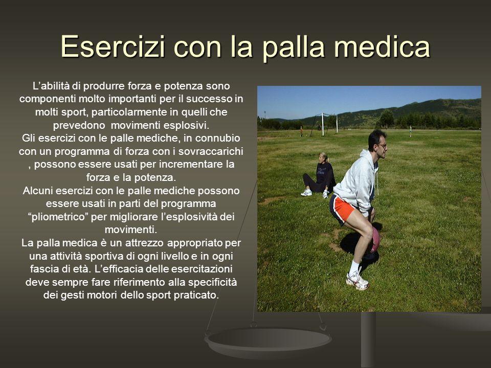 Esercizi con la palla medica Labilità di produrre forza e potenza sono componenti molto importanti per il successo in molti sport, particolarmente in