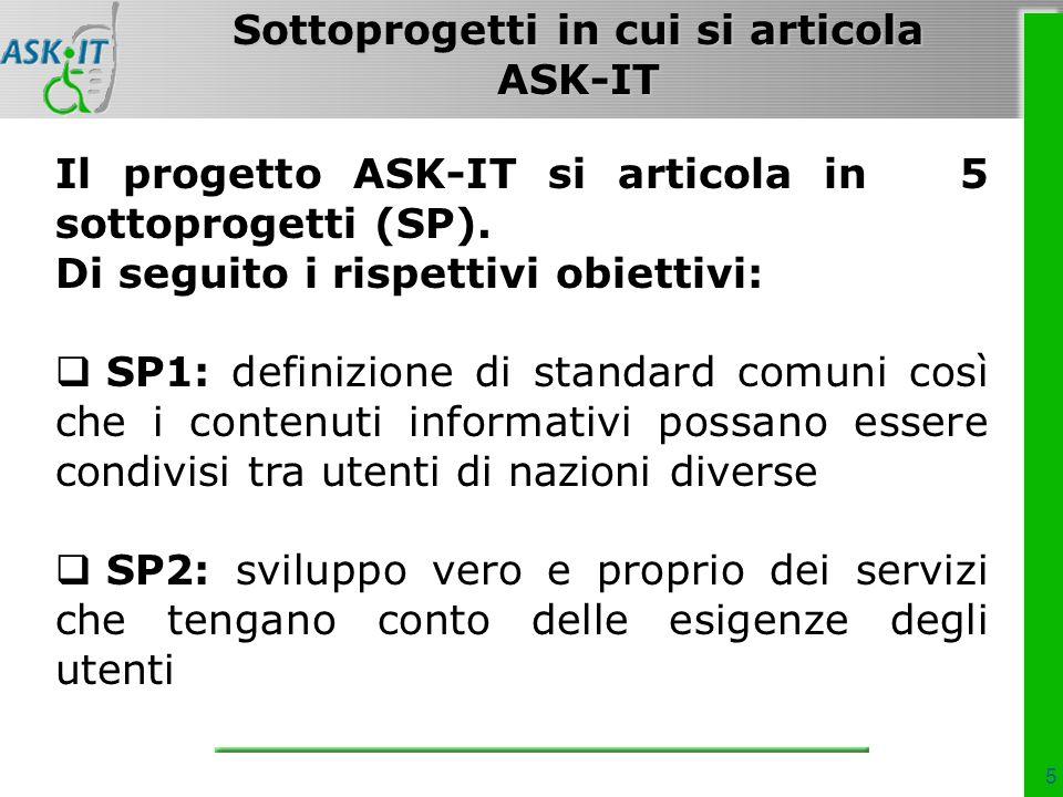 5 Il progetto ASK-IT si articola in 5 sottoprogetti (SP).