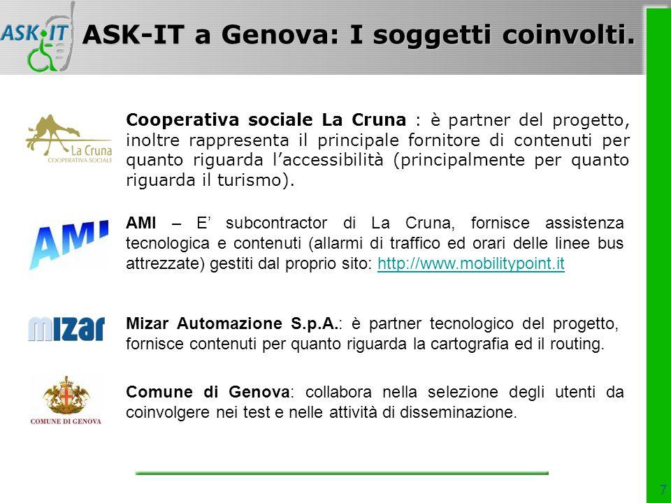 7 Cooperativa sociale La Cruna : è partner del progetto, inoltre rappresenta il principale fornitore di contenuti per quanto riguarda laccessibilità (principalmente per quanto riguarda il turismo).