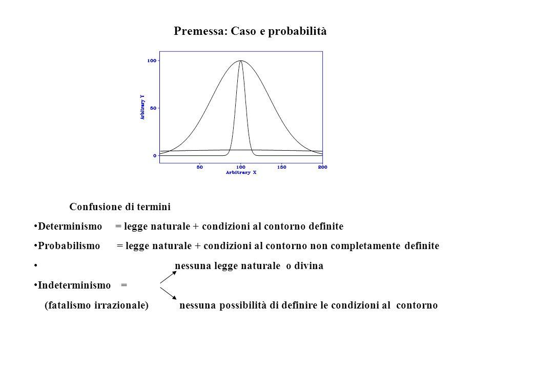 Premessa: Caso e probabilità Confusione di termini Determinismo = legge naturale + condizioni al contorno definite Probabilismo = legge naturale + con