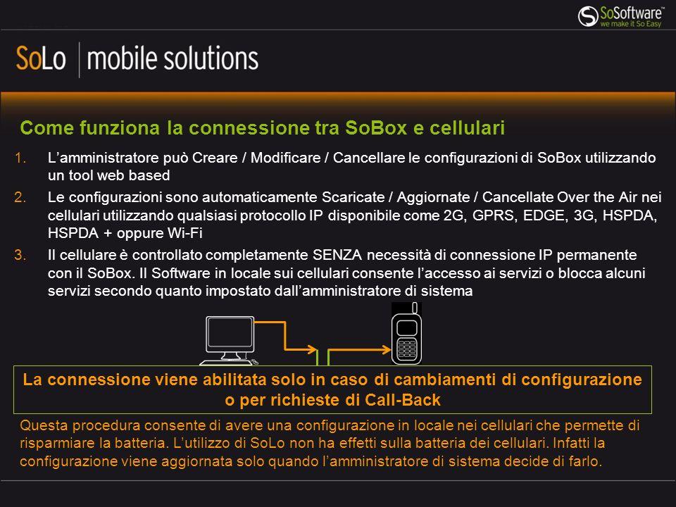Come funziona la connessione tra SoBox e cellulari 1.Lamministratore può Creare / Modificare / Cancellare le configurazioni di SoBox utilizzando un tool web based 2.Le configurazioni sono automaticamente Scaricate / Aggiornate / Cancellate Over the Air nei cellulari utilizzando qualsiasi protocollo IP disponibile come 2G, GPRS, EDGE, 3G, HSPDA, HSPDA + oppure Wi-Fi 3.Il cellulare è controllato completamente SENZA necessità di connessione IP permanente con il SoBox.
