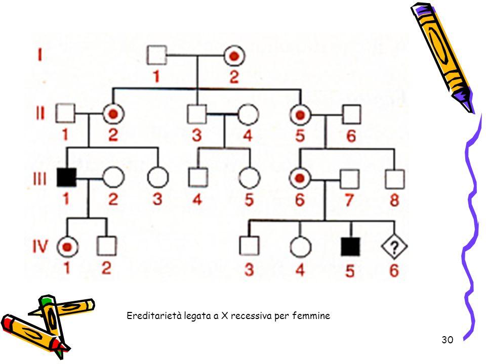 30 Ereditarietà legata a X recessiva per femmine