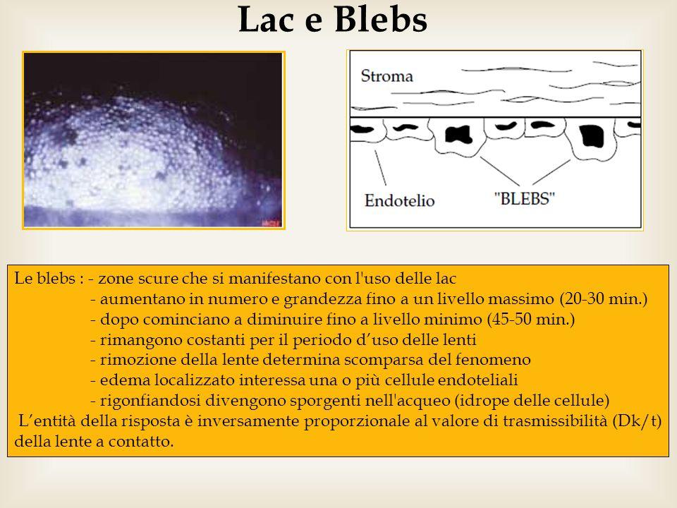 Lac e Blebs Le blebs : - zone scure che si manifestano con l'uso delle lac - aumentano in numero e grandezza fino a un livello massimo (20-30 min.) -