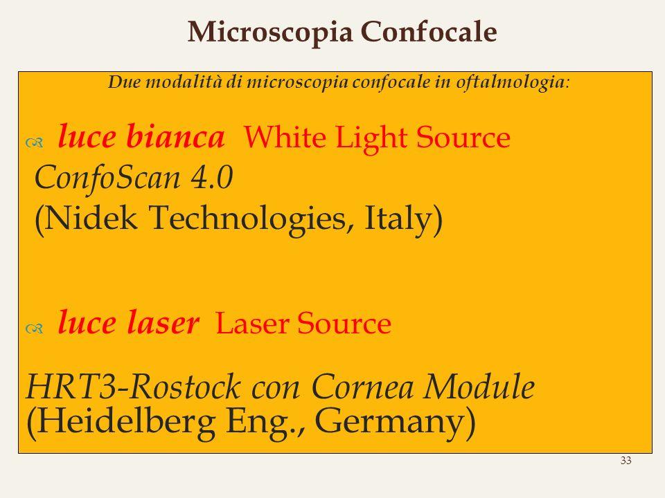 Due modalità di microscopia confocale in oftalmologia : luce bianca White Light Source ConfoScan 4.0 (Nidek Technologies, Italy) luce laser Laser Sour
