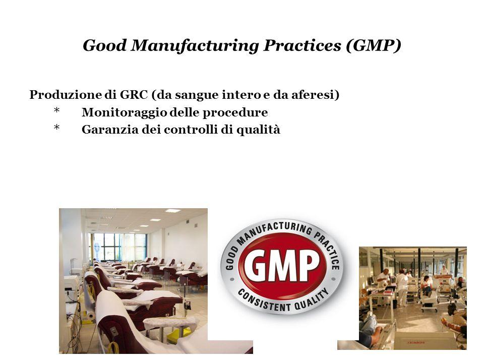 Good Manufacturing Practices (GMP) Produzione di GRC (da sangue intero e da aferesi) * Monitoraggio delle procedure * Garanzia dei controlli di qualit