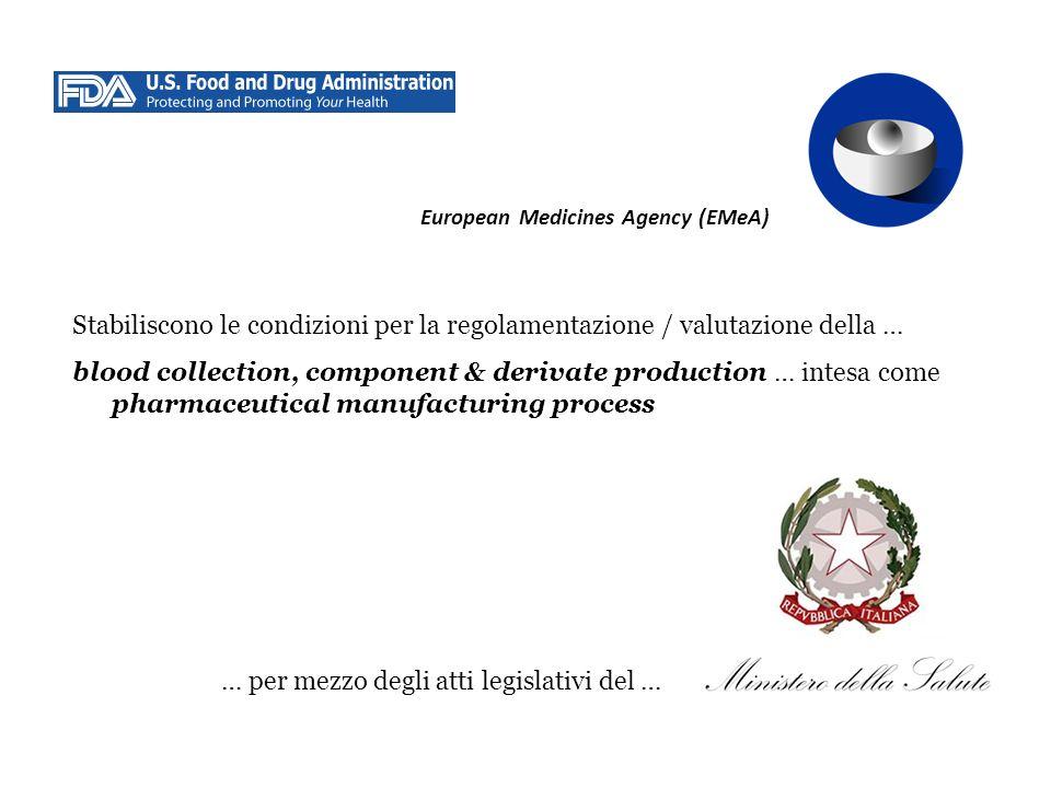 European Medicines Agency (EMeA) Stabiliscono le condizioni per la regolamentazione / valutazione della … blood collection, component & derivate produ