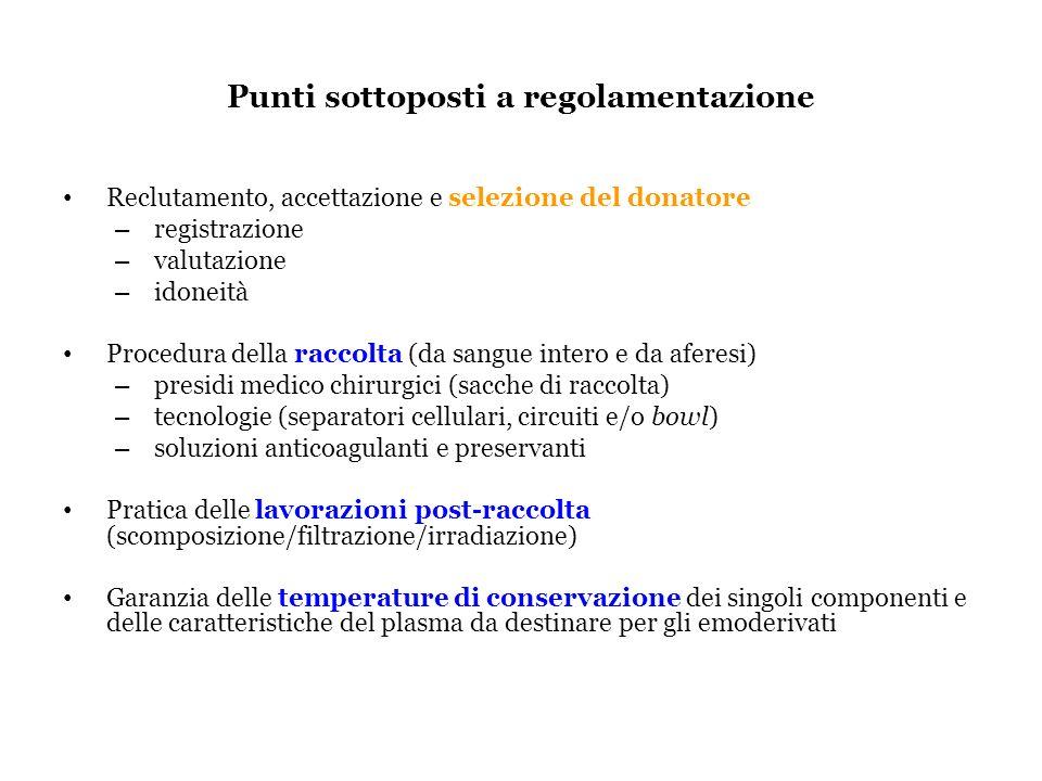 Punti sottoposti a regolamentazione Reclutamento, accettazione e selezione del donatore – registrazione – valutazione – idoneità Procedura della racco