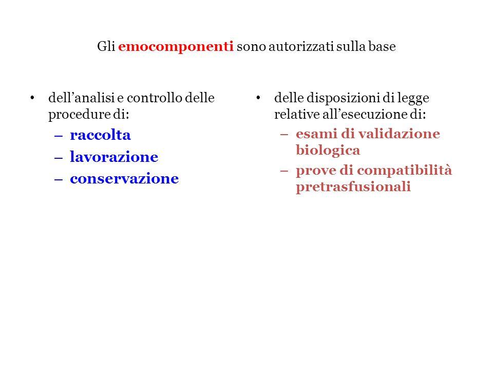 Gli emocomponenti sono autorizzati sulla base dellanalisi e controllo delle procedure di: – raccolta – lavorazione – conservazione delle disposizioni