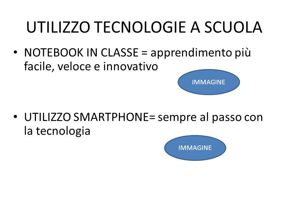 UTILIZZO TECNOLOGIE A SCUOLA NOTEBOOK IN CLASSE = apprendimento più facile, veloce e innovativo UTILIZZO SMARTPHONE= sempre al passo con la tecnologia IMMAGINE