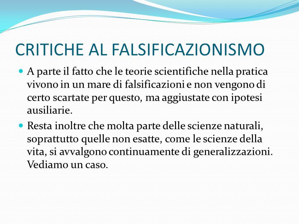CRITICHE AL FALSIFICAZIONISMO A parte il fatto che le teorie scientifiche nella pratica vivono in un mare di falsificazioni e non vengono di certo scartate per questo, ma aggiustate con ipotesi ausiliarie.
