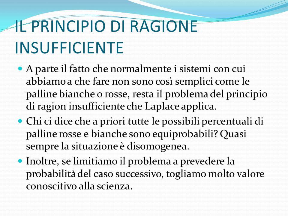 IL PRINCIPIO DI RAGIONE INSUFFICIENTE A parte il fatto che normalmente i sistemi con cui abbiamo a che fare non sono così semplici come le palline bianche o rosse, resta il problema del principio di ragion insufficiente che Laplace applica.