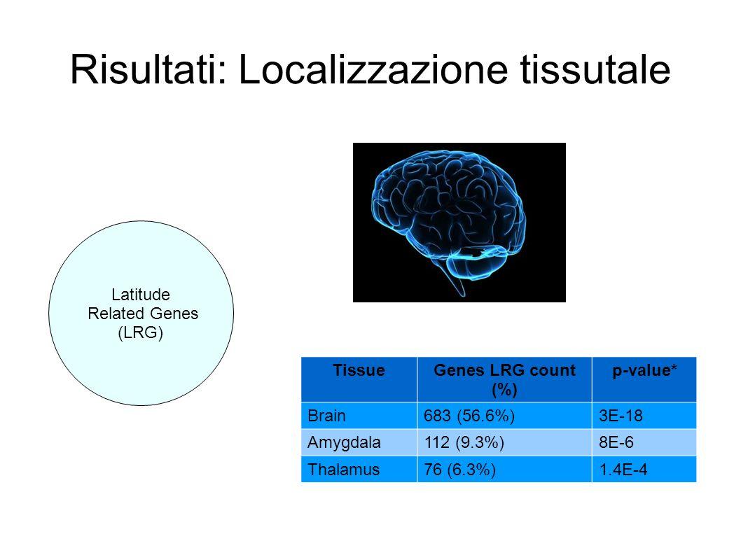 Risultati: Localizzazione tissutale TissueGenes LRG count (%) p-value* Brain683 (56.6%)3E-18 Amygdala112 (9.3%)8E-6 Thalamus76 (6.3%)1.4E-4 Latitude R