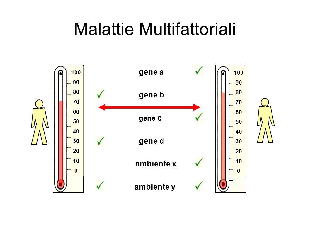 gene b gene d ambiente y ambiente x gene a gene c 100 90 80 70 60 50 40 30 20 10 0 100 90 80 70 60 50 40 30 20 10 0 Malattie Multifattoriali