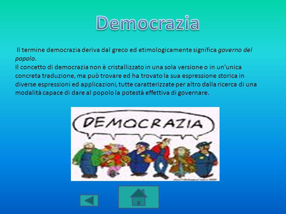 Il termine democrazia deriva dal greco ed etimologicamente significa governo del popolo. Il concetto di democrazia non è cristallizzato in una sola ve