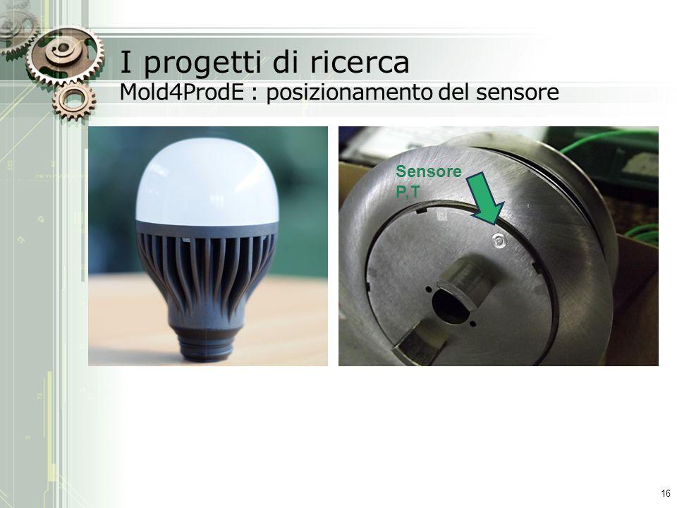 I progetti di ricerca Mold4ProdE : posizionamento del sensore 16 Sensore P,T