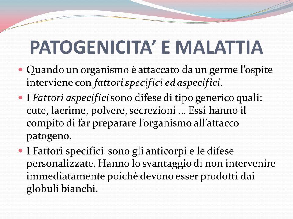 PATOGENICITA E MALATTIA Quando un organismo è attaccato da un germe lospite interviene con fattori specifici ed aspecifici.