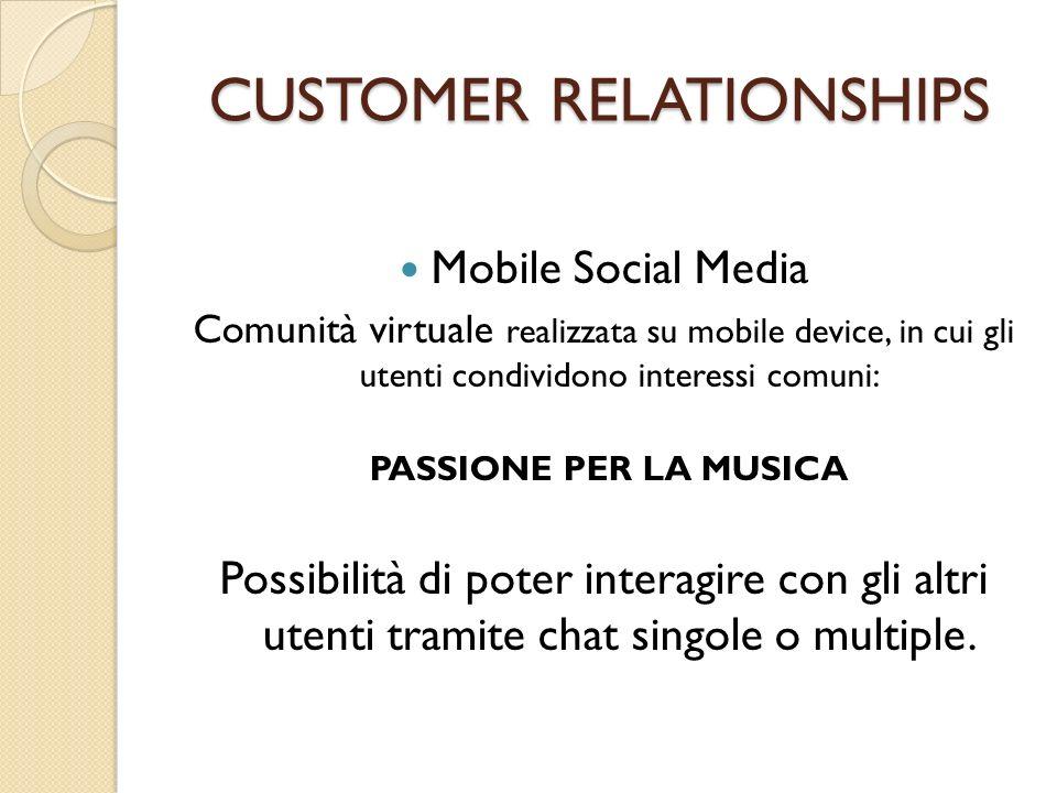 CUSTOMER RELATIONSHIPS Mobile Social Media Comunità virtuale realizzata su mobile device, in cui gli utenti condividono interessi comuni: PASSIONE PER
