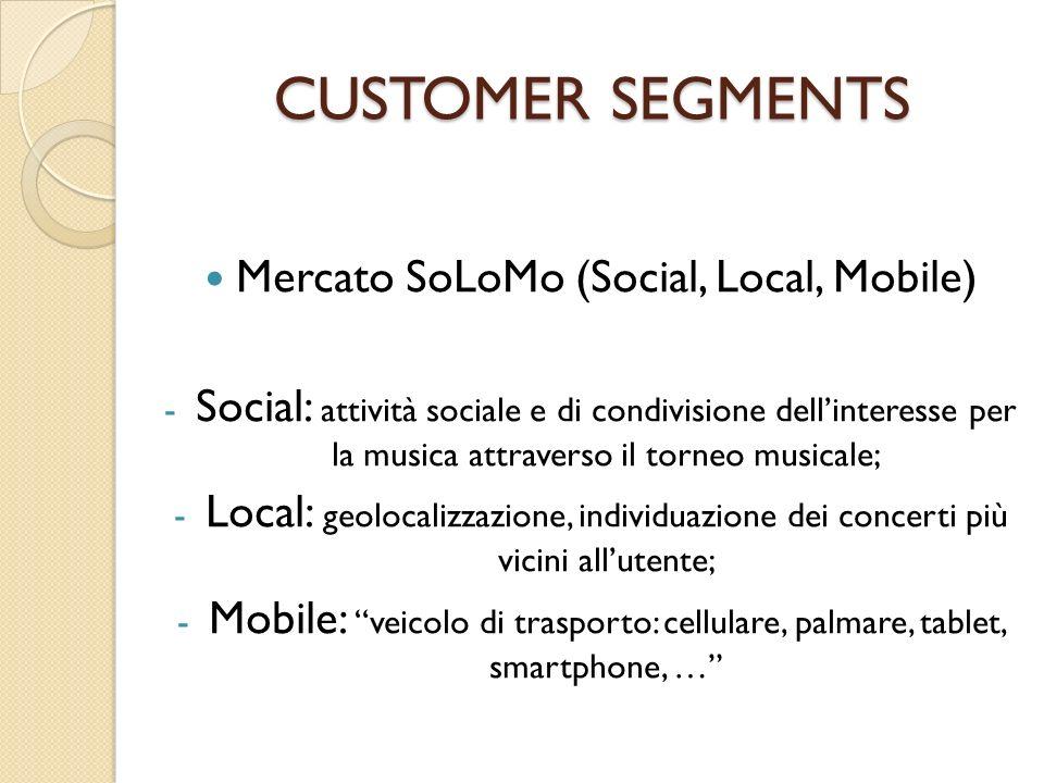 CUSTOMER SEGMENTS Mercato SoLoMo (Social, Local, Mobile) - Social: attività sociale e di condivisione dellinteresse per la musica attraverso il torneo