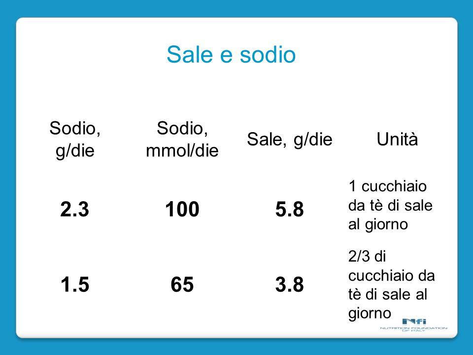Sale e sodio Sodio, g/die Sodio, mmol/die Sale, g/dieUnità 2.31005.8 1 cucchiaio da tè di sale al giorno 1.5653.8 2/3 di cucchiaio da tè di sale al giorno