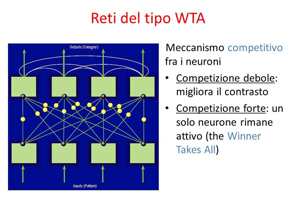 Reti del tipo WTA Meccanismo competitivo fra i neuroni Competizione debole: migliora il contrasto Competizione forte: un solo neurone rimane attivo (t