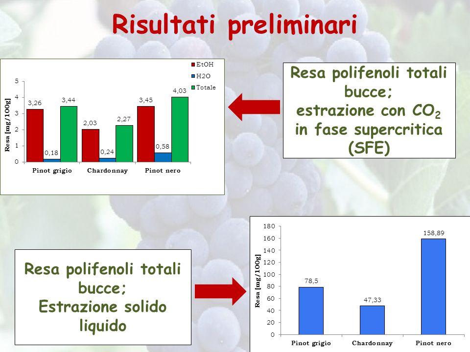 Risultati preliminari Resa polifenoli totali bucce; estrazione con CO 2 in fase supercritica (SFE) Resa polifenoli totali bucce; Estrazione solido liq