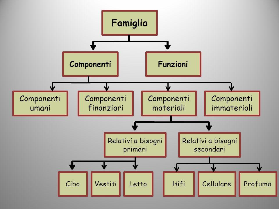Famiglia ComponentiFunzioni Componenti umani Componenti finanziari Componenti materiali Componenti immateriali Relativi a bisogni primari Relativi a b